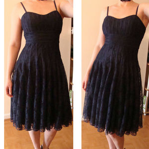 JS collection cocktail dress S navy lace empire